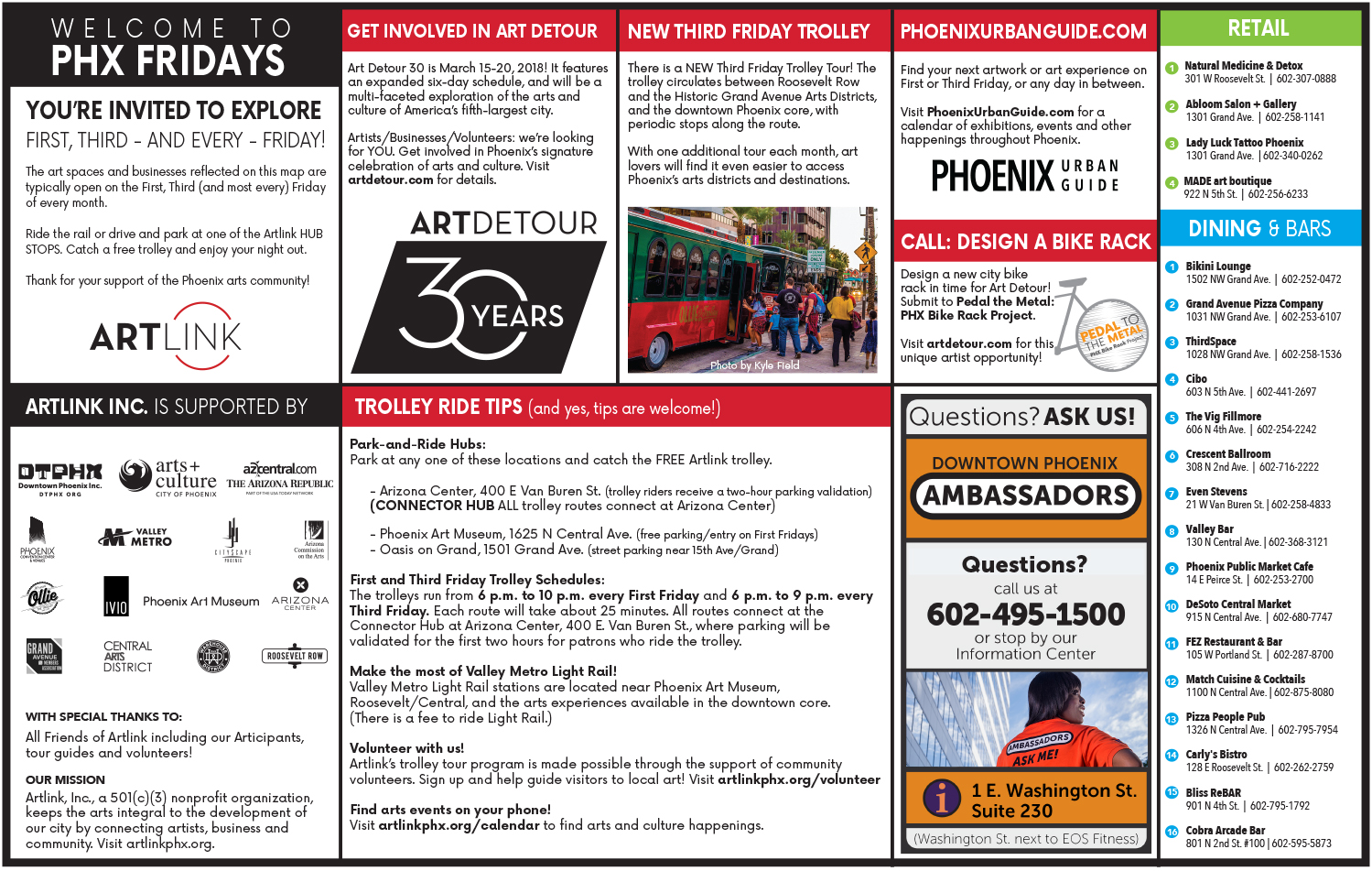 First Friday, Third Friday, PHX FRIDAYS Map