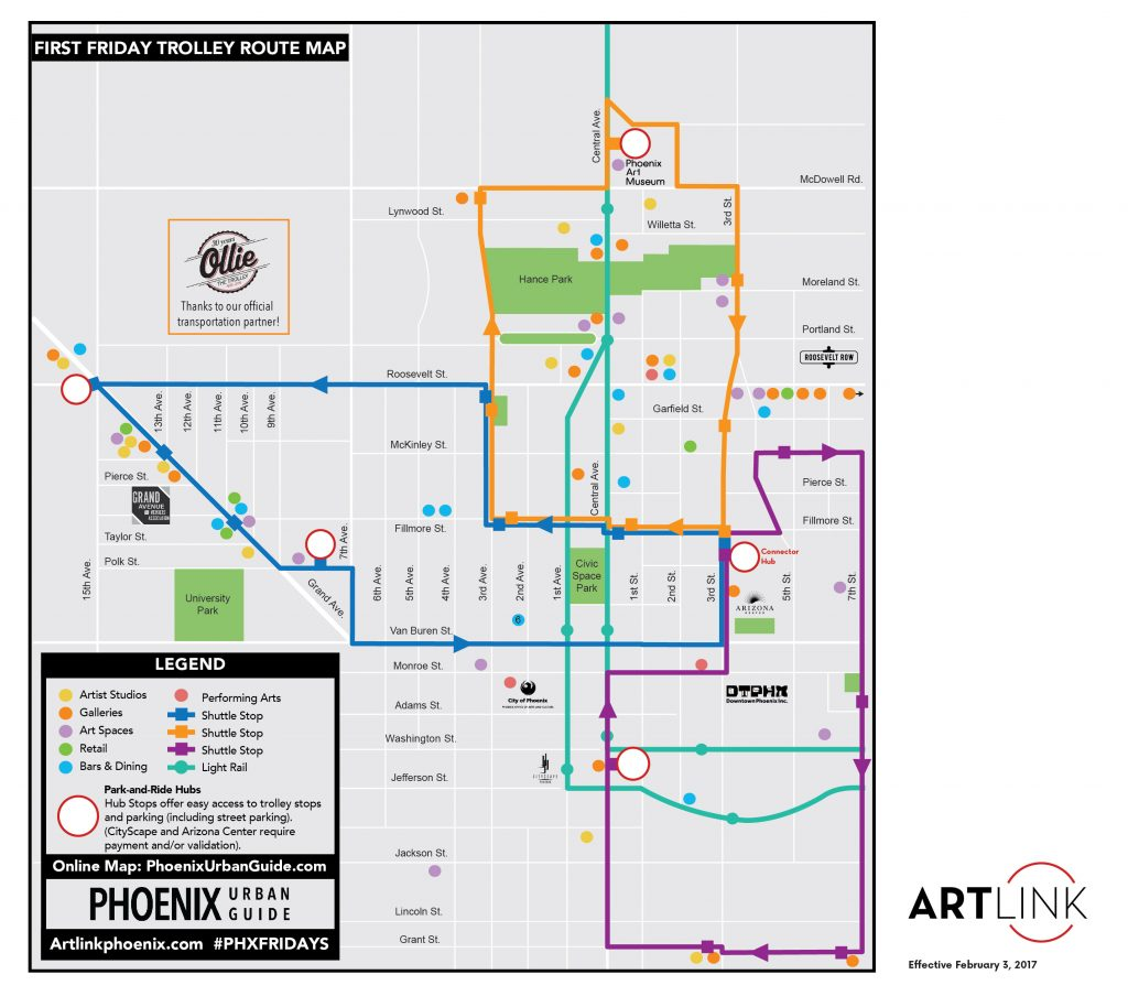 Artlink trolley route map FEB FF